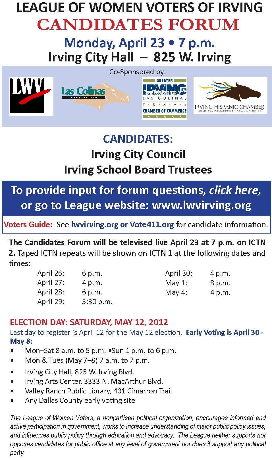 LWV candidates forum flyer 2012